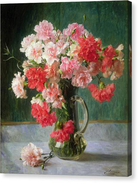 Red Roses Canvas Print -  Still Life Of Carnations   by Emile Vernon