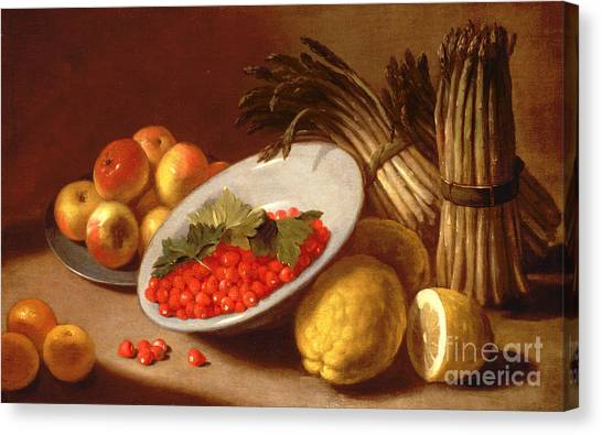 Raspberry Canvas Print -  Still Life Of Raspberries Lemons And Asparagus  by Italian School