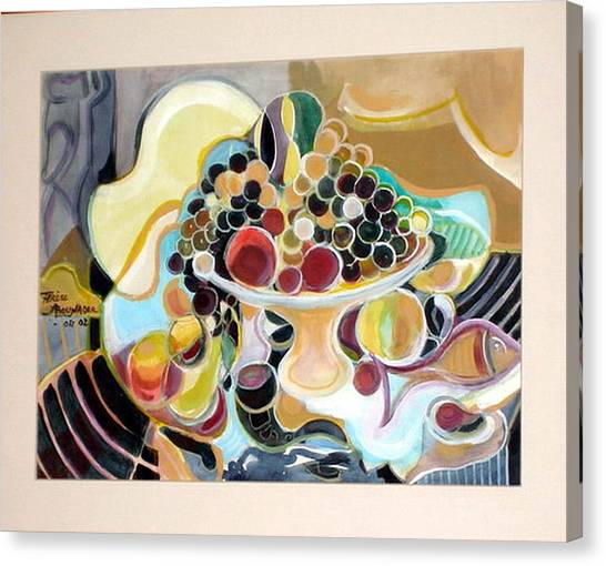 Still Life With Fish And Fresh  Fruits Canvas Print by Therese AbouNader