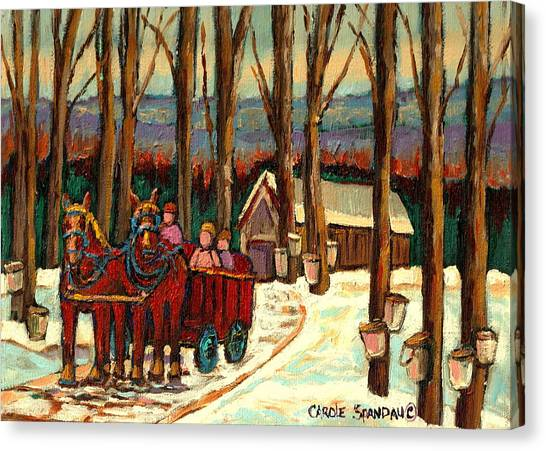 Afterschool Hockey Montreal Canvas Print -  Sugar Shack by Carole Spandau