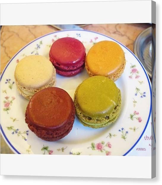 Sweet Tea Canvas Print - ' Tea Set With 5 Small Macarons by Aa Ya Na
