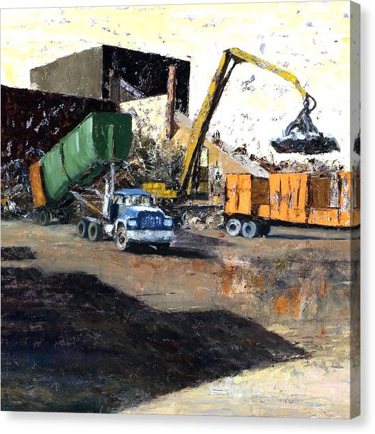 The Blue Truck Canvas Print by Nancy Albrecht