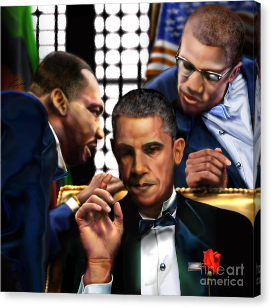 Barack Obama Canvas Print -  Sub Rosa The Council Of Made Men Iron Sharpening Iron by Reggie Duffie