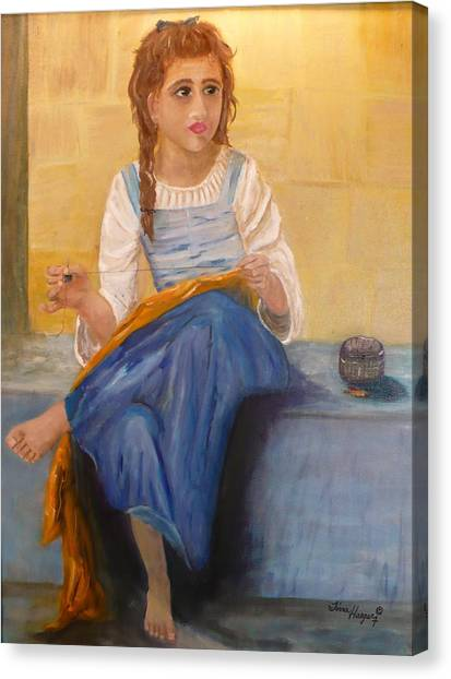 The Girl That Loves To Sew  Canvas Print by Tina Haeger