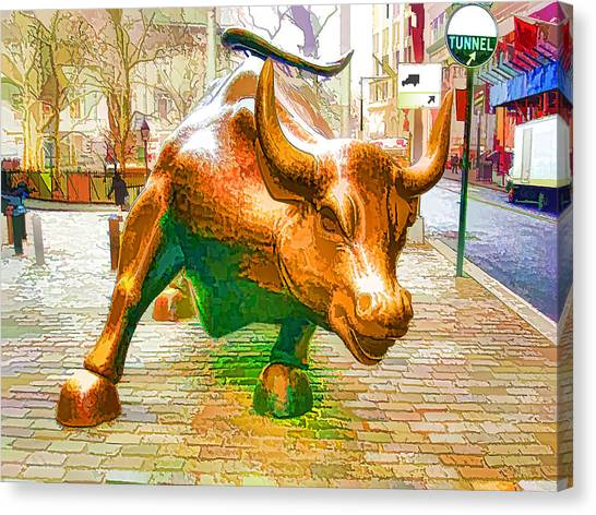 The Landmark Charging Bull In Lower Manhattan  Canvas Print