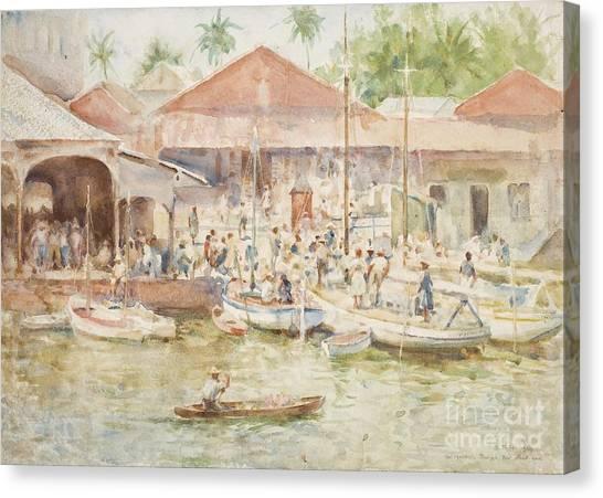 Belize Canvas Print -  The Market Belize British Honduras by Henry Scott Tuke