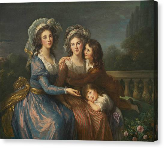 Rococo Art Canvas Print -  The Marquise De Pezay, And The Marquise De Rouge With Her Sons by Louise Elisabeth Vigee Le Brun