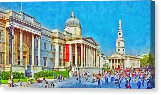 The National Gallery And St Martin In The Fields Church Canvas Print