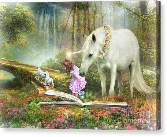 The Unicorn Book Of Magic Canvas Print