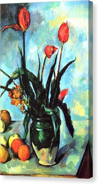 Tulips In A Vase Canvas Print