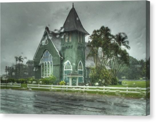 Tropical Stain Glass Canvas Print -  Waioli Huiia Church Kauai  by Joe  Palermo