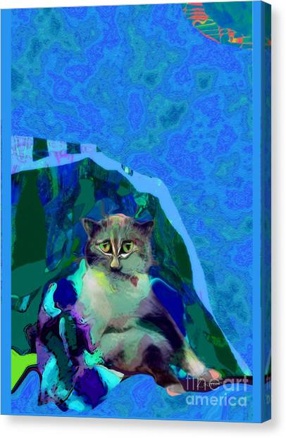 007 The Under Covers Cat Canvas Print