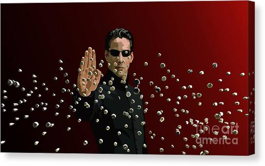 Keanu Reeves Canvas Print - 021. There Is No Spoon by Tam Hazlewood