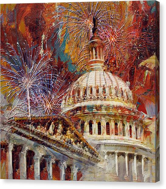 Capitol Building Canvas Print - 070 United States Capitol Building - Us Independence Day Celebration Fireworks by Maryam Mughal