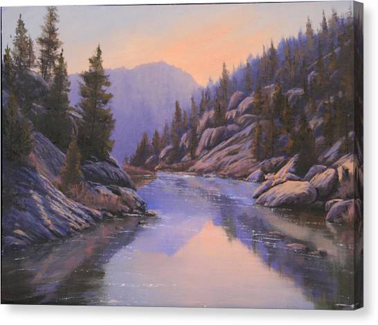 071123-1612  Remnants Of The Day In The Canyon Canvas Print by Kenneth Shanika