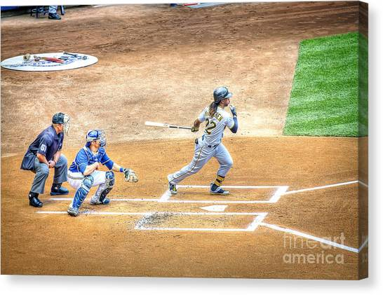 Pittsburgh Pirates Canvas Print - 0990 Base Hit - Mccutchen by Steve Sturgill