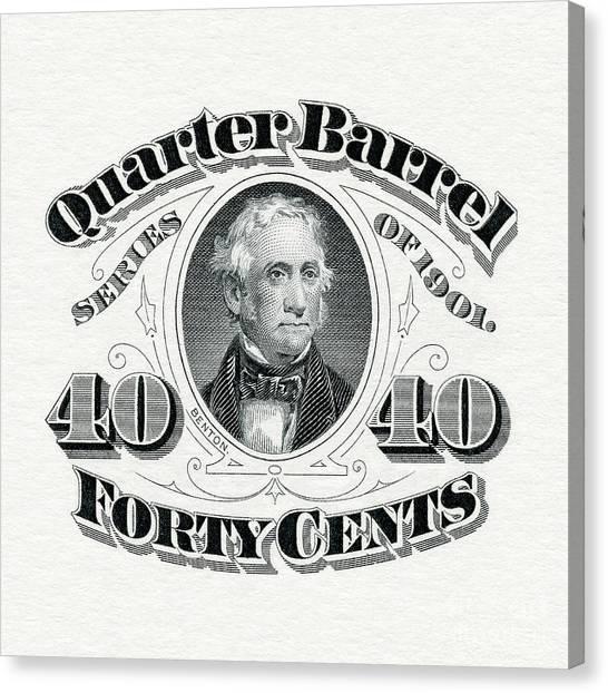 Taxes Canvas Print - 1901 Quarter Beer Barrel Tax Stamp by Jon Neidert