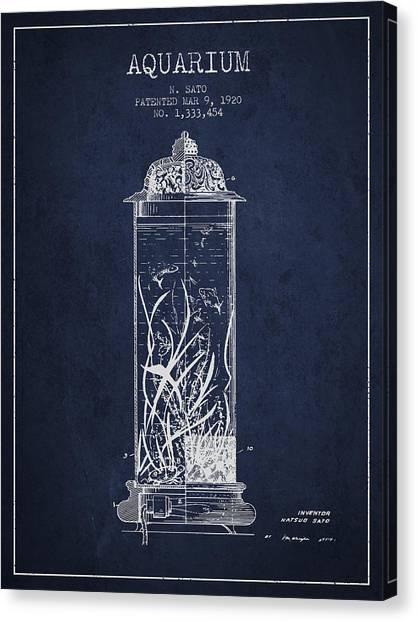 Fish Tanks Canvas Print - 1902 Aquarium Patent - Navy Blue by Aged Pixel
