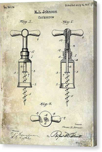 Wine Barrels Canvas Print - 1907 Corkscrew Patent  by Jon Neidert