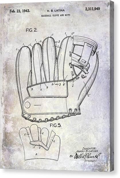Ty Cobb Canvas Print - 1943 Baseball Glove Patent by Jon Neidert