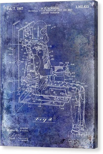 Space Suit Canvas Print - 1967 Pilot G Suit Patent Blue by Jon Neidert