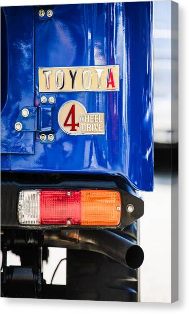Toyota Canvas Print - 1982 Toyota Fj43 Land Cruiser Rear Emblem -0483c by Jill Reger