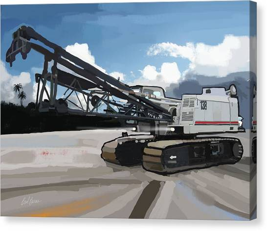 Bulldozers Canvas Print - 2004 Link Belt 138h5 Lattice Boom Crawler Crane by Brad Burns