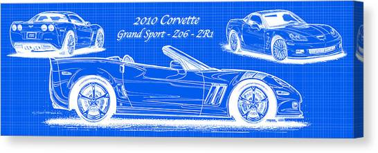 2010 Corvette Grand Sport - Z06 - Zr1 Reverse Blueprint Canvas Print