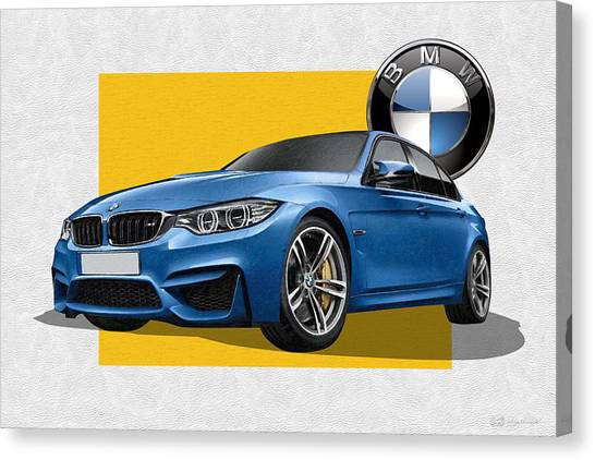 Automobiles Canvas Print - 2016  B M W  M 3  Sedan With 3 D Badge  by Serge Averbukh