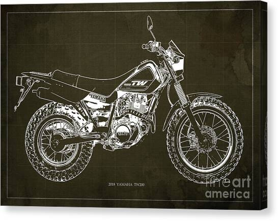 Yamaha Canvas Print - 2018 Yamaha Tw200 Blueprint, Original Artwork For Man Cave Decoration, Gift For Biker by Drawspots Illustrations