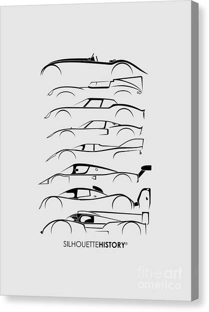 Audi Canvas Print - 24 Hours Race Cars Silhouettehistory by Gabor Vida