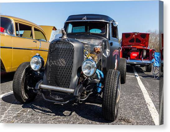 Canvas Print featuring the photograph 51 Ford F-1 Rat Rod - Ehhs Car Show by Michael Sussman