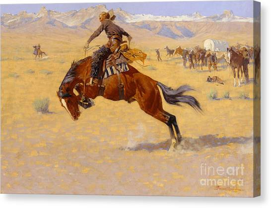 Bronco Canvas Print - A Cold Morning On The Range by Frederic Remington