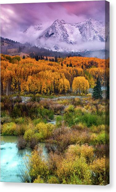 A Fall Snow At Sunrise Canvas Print