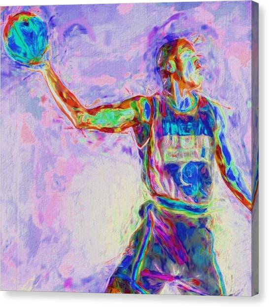 Basketball Canvas Print - A Fan Once Shouted At Jordan After by David Haskett II