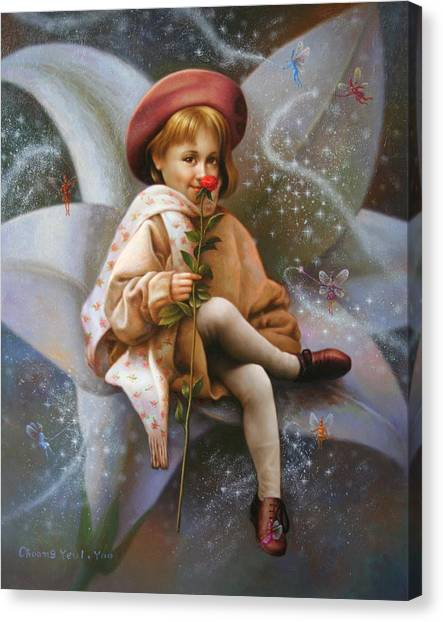 A Girl And A Fairy Of 7 Canvas Print