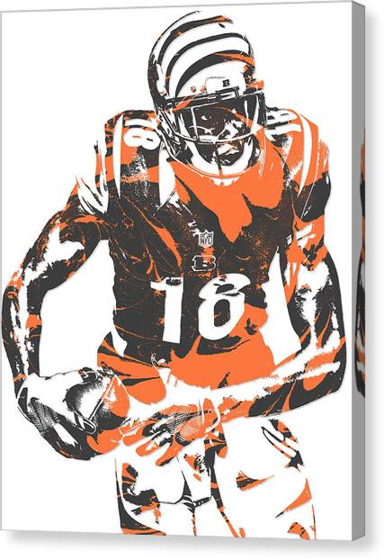 Cincinnati Bengals Canvas Print - A J Green Cincinnati Bengals Pixel Art 5 by Joe Hamilton