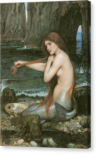 Mythological Creatures Canvas Print - A Mermaid by John William Waterhouse