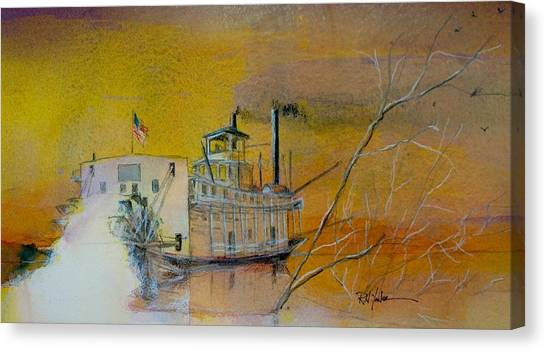 Mississippi River Canvas Print - A Mississippi Sawyer by Robert Yonke