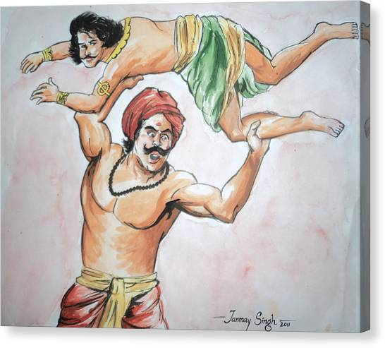 A Scene From Mahabharata Canvas Print by Tanmay Singh