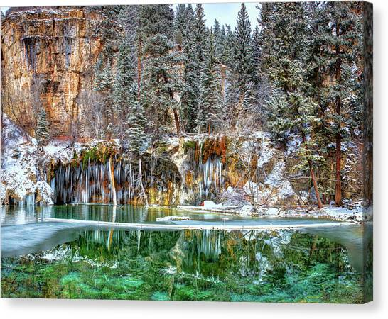 Olena Art Serene Chill Hanging Lake Photograph The Gem Of Glenwood Canyon Colorado Canvas Print