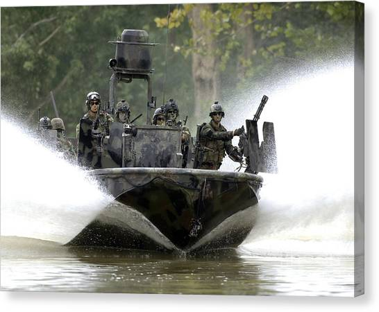 Special Forces Canvas Print - A Special Operations Craft Riverine by Stocktrek Images