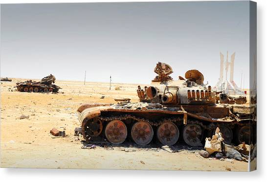 Nato Canvas Print - A T-80 Tank Destroyed By Nato Forces by Andrew Chittock