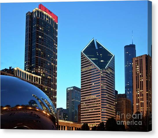 A View From Millenium Park At Dusk Canvas Print