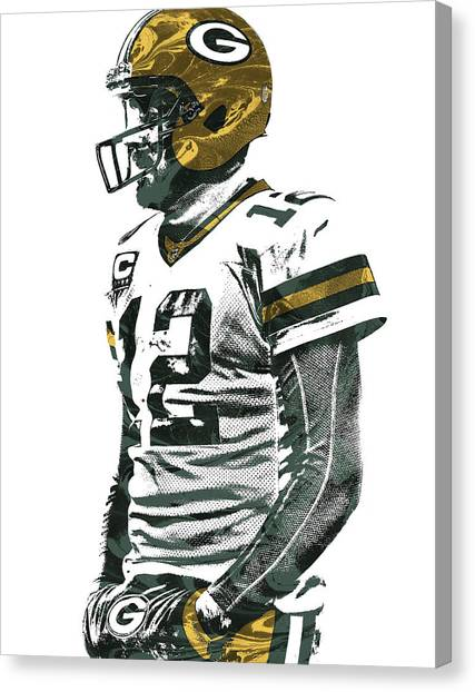 Aaron Rodgers Canvas Print - Aaron Rodgers Green Bay Packers Pixel Art 5 by Joe Hamilton