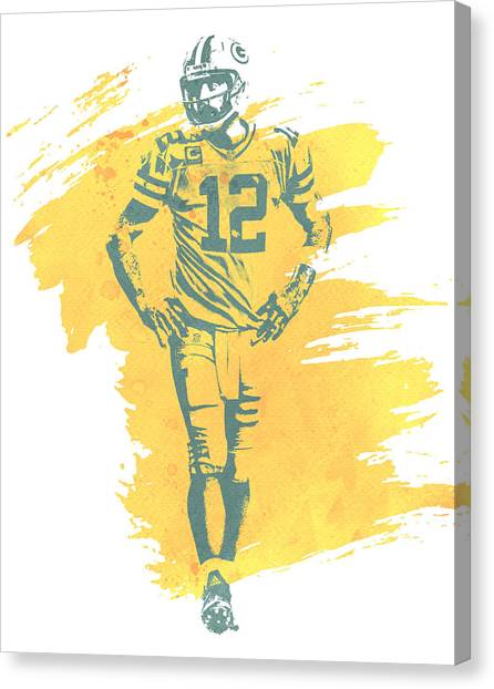 Green Bay Packers Canvas Print - Aaron Rodgers Green Bay Packers Water Color Art 1 by Joe Hamilton