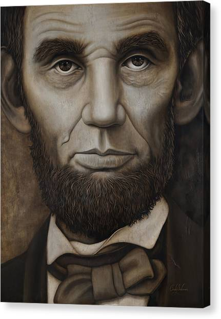 Abraham Lincoln On Wood Canvas Print