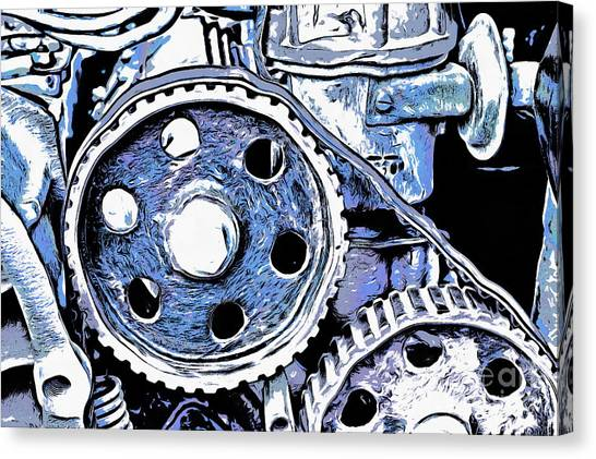 Junk Canvas Print - Abstract Detail Of The Old Engine by Michal Boubin