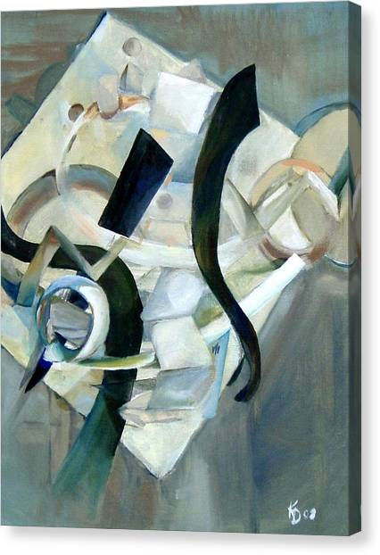 Abstract In Gray Canvas Print by Kathy Dueker