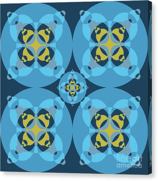 Arte Canvas Print - Abstract Mandala Cyan, Dark Blue And Yellow Pattern For Home Decoration by Drawspots Illustrations